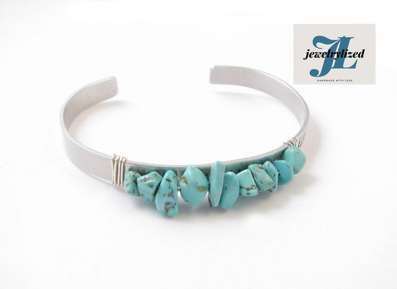 Natural Turquoise Cuff Bracelet, Wire Wrapped Jewelry - Jewelrylized.com