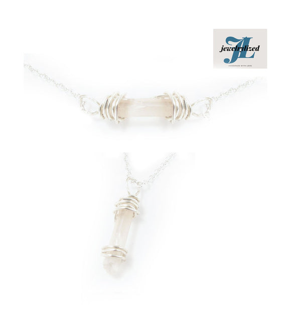 Clear Raw Crystal Quartz Necklace - Jewelrylized.com