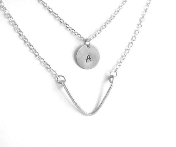Layered Chevron Hand Stamped Personalized Initials Necklace - Jewelrylized.com