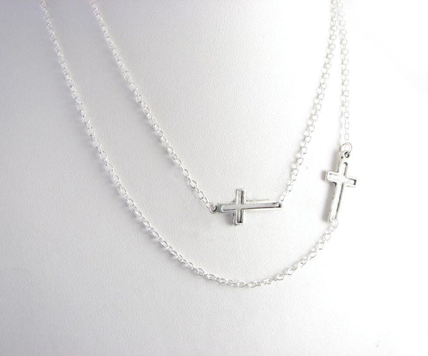 Layered Two Cross Necklace, Religious Christian Jewelry - Jewelrylized.com