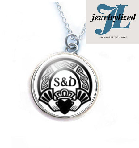 Silver Claddagh Initials Necklace