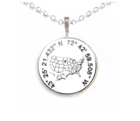 Silver US Map Latitude Longitude Necklace - Jewelrylized.com