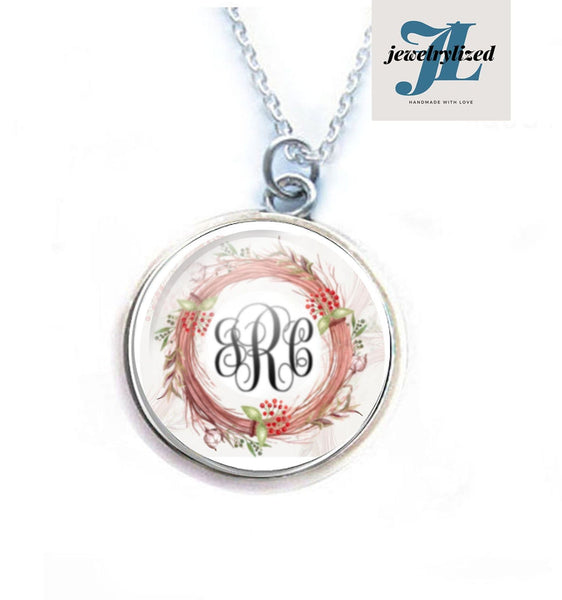 Rustic Wreath Monogram Necklace - Jewelrylized.com