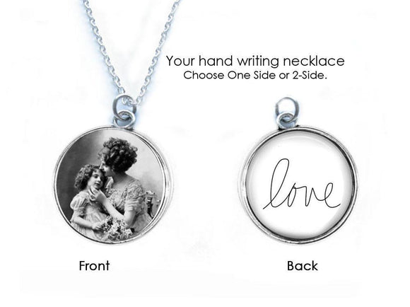 Handwriting Necklace, Reversible 2 Sided Necklace - Jewelrylized.com