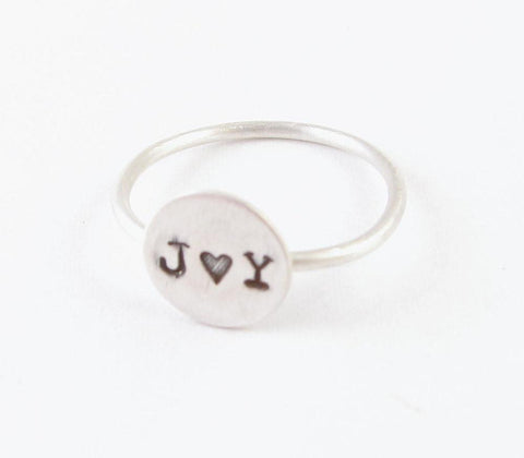 Sterling Silver Initials Personalized Hand Stamped Ring - Jewelrylized  - 1