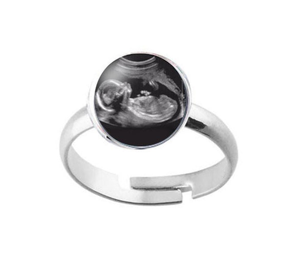 Sonogram Silver Plated Ring - Jewelrylized.com
