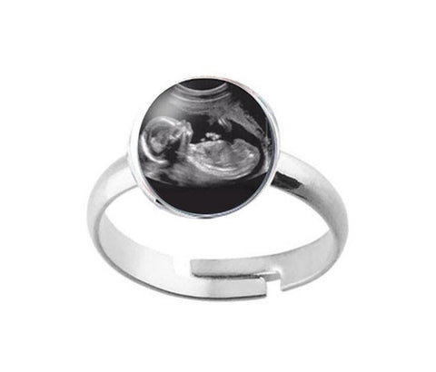 Sonogram Silver Plated Ring, Pregnancy Gift, birth announcement, New Baby Ring - Jewelrylized  - 1