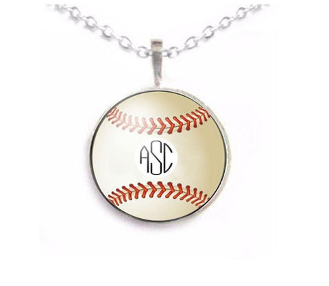 Baseball Monogram Necklace, Jewelrylized