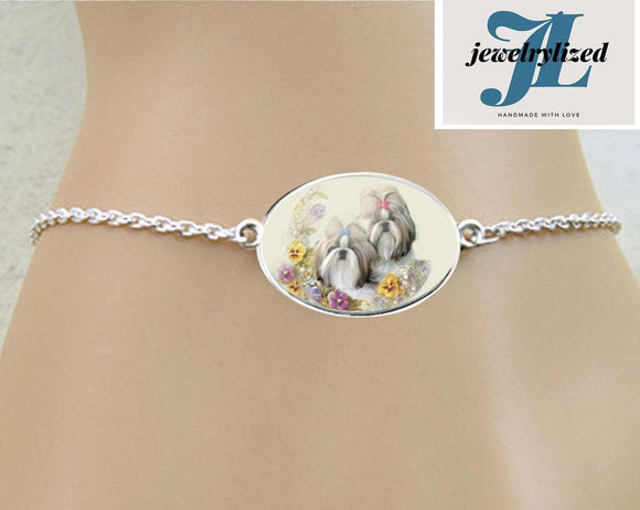 Shih Tzu Dog Oval Photo Bracelet, New - Jewelrylized.com