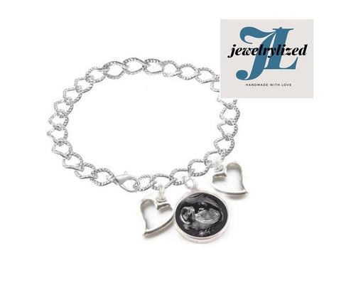 Reversible Sonogram Heart Charm Bracelet, Baby shower gift - Jewelrylized.com