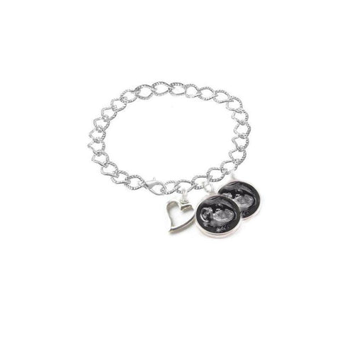 2 Sonogram Heart Charm Bracelet, Ultrasound Bracelet, Pregnancy Jewelry, Baby shower gift