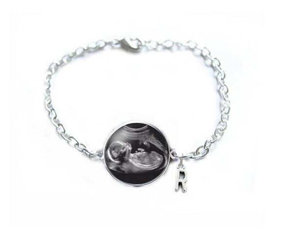 Initial Charm Sonogram Bracelet, Pregnancy Gift, birth announcement, Gift for New Mother - Jewelrylized.com