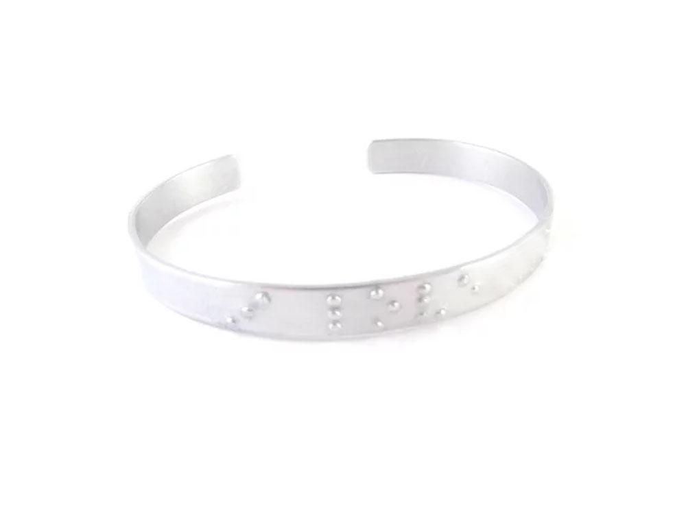 Silver Braille Love You Hand Stamped Cuff Bracelet - Jewelrylized.com