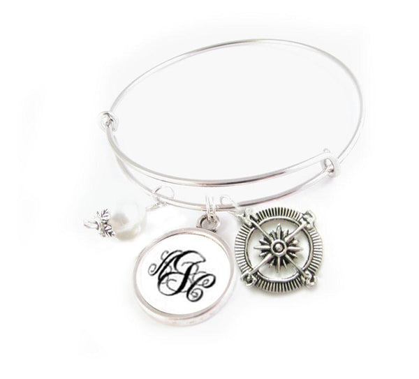 Compass and Monogram Expandable Charm Bracelet, Wire Bangle - Jewelrylized  - 1