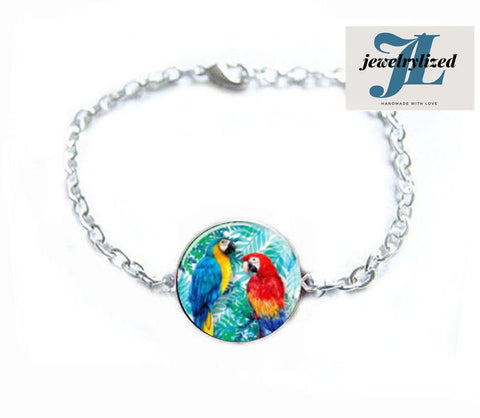 Parrot Bird Bracelet, Ring, Earrings