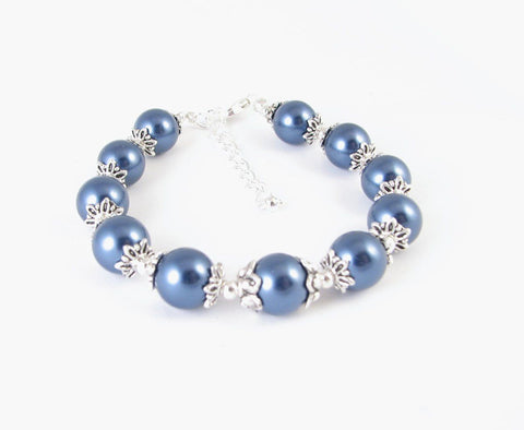 Dark Blue Pearl Statement Bracelet - Jewelrylized