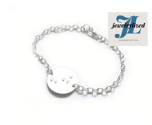 Braille Initial Silver Bracelet - Jewelrylized.com