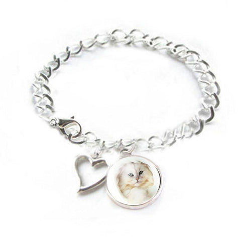 White Cat Heart Charm Silver Photo Bracelet, Jewelrylized