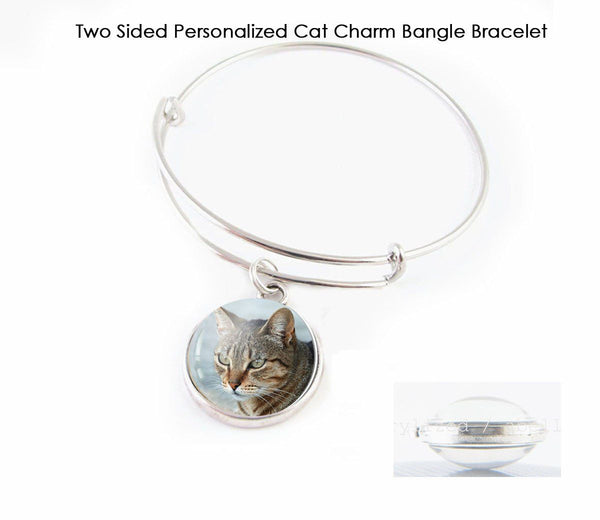 Memorial Cat Charm Two Sided Expandable Bangle Bracelet - Jewelrylized