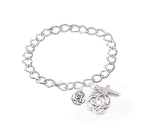 Initial Cross Celtic Charm Bracelet, Religious Irish Jewelry - Jewelrylized.com