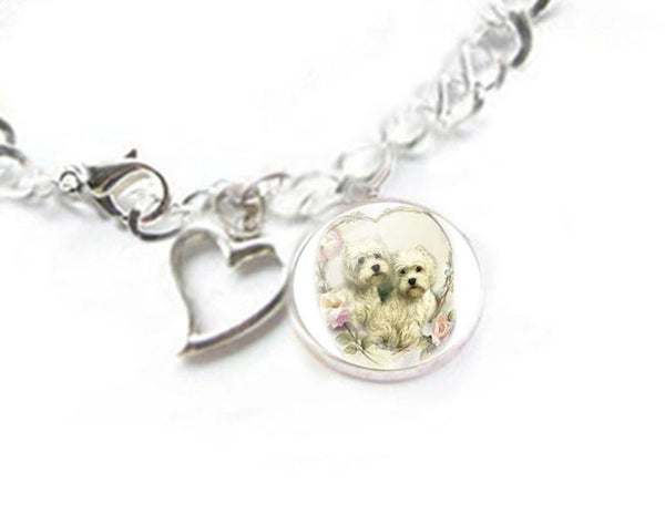 Dog Bracelet, West Highland White Terrier and Heart Charm Silver Plated Bracelet - Jewelrylized  - 2