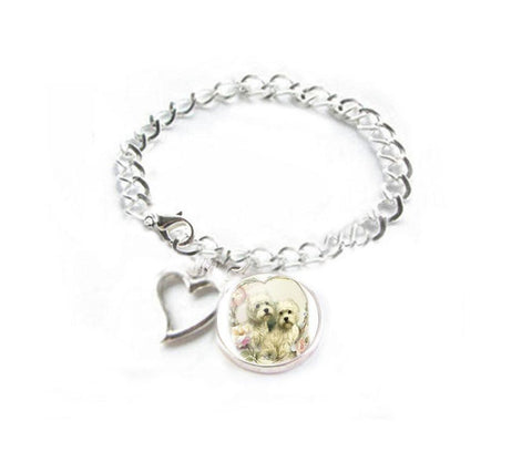 Dog Bracelet, West Highland White Terrier and Heart Charm Silver Plated Bracelet - Jewelrylized  - 1