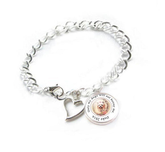 Yorkie Dog Bracelet, Dog photo Heart Charm Bracelet - Jewelrylized