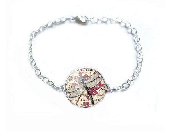 Dragonfly Bracelet, Silver Plated Chain Linked - Jewelrylized