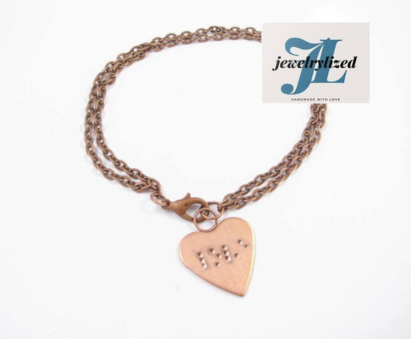 Copper Heart Braille Handcrafts Blind Bracelet - Jewelrylized