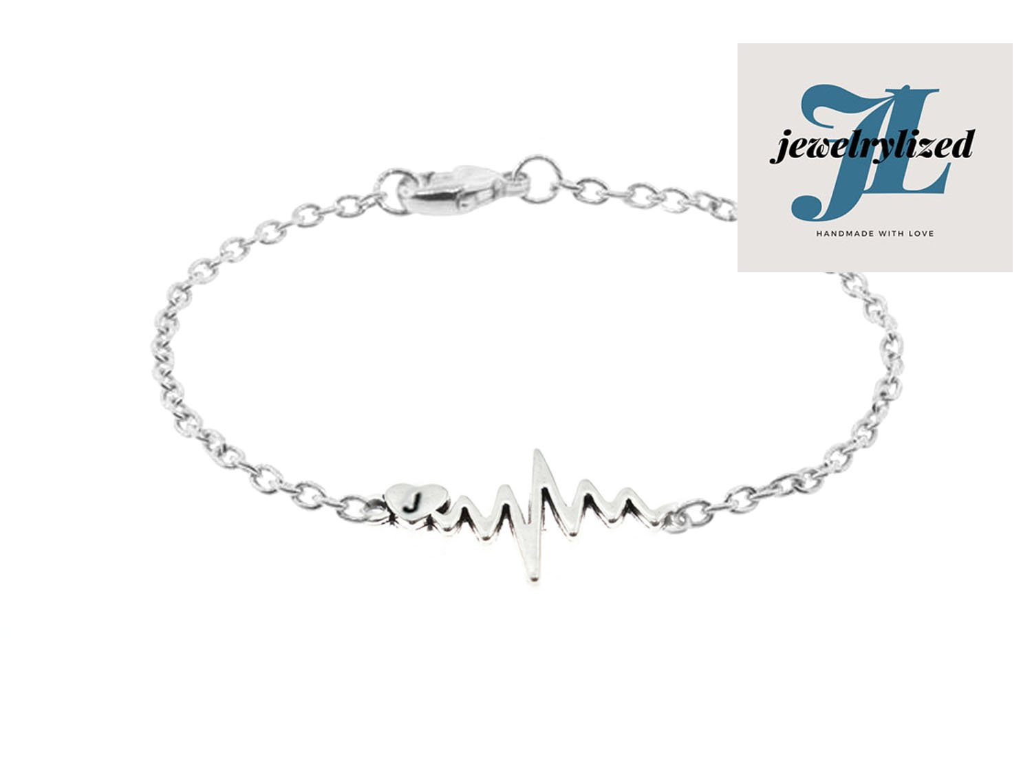 ECG Heartbeat Initial Silver Plated Chain Bracelet - Jewelrylized.com