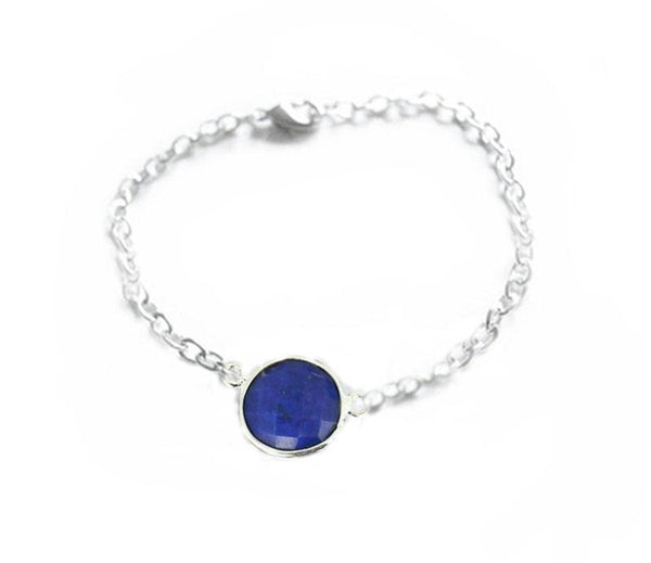 Lapis Gemstone Silver Bracelet - Jewelrylized