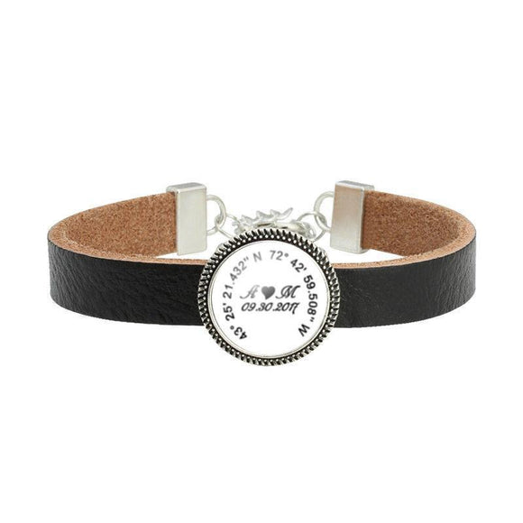 Black Leather Latitude Longitude Initials Bracelet - Jewelrylized.com