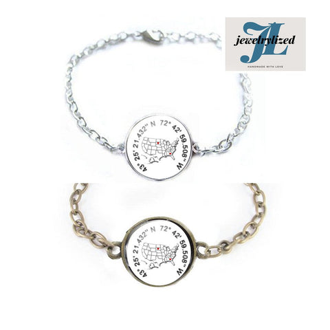 USA Map Latitude Longitude Bracelet