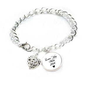 Love Mom Bracelet, Mothers Day Heart Charm Silver Plated Bracelet - Jewelrylized.com