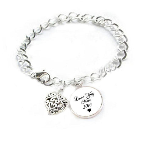Love Mom Bracelet, Mothers Day Heart Charm Silver Plated Bracelet - Jewelrylized