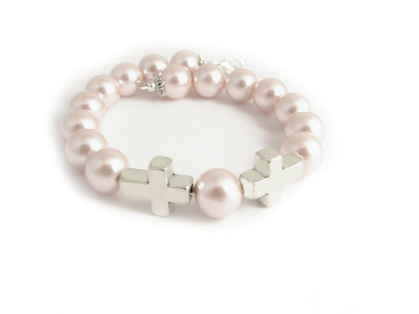 Pale Pink Pearl Cross Bracelet - Jewelrylized.com