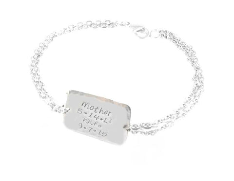 Square or Round Mother Wife Personalized Hand Stamped Bracelet, Jewelrylized