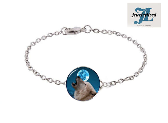 Blue Howling Wolf Moon Bracelet - Jewelrylized.com
