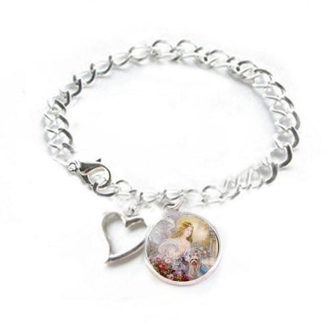 Angel Yorkie Dog Heart Charm Silver Bracelet - Jewelrylized