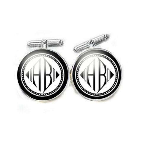 Diamond Shaped Personalized Two Initials Cufflinks - Jewelrylized.com