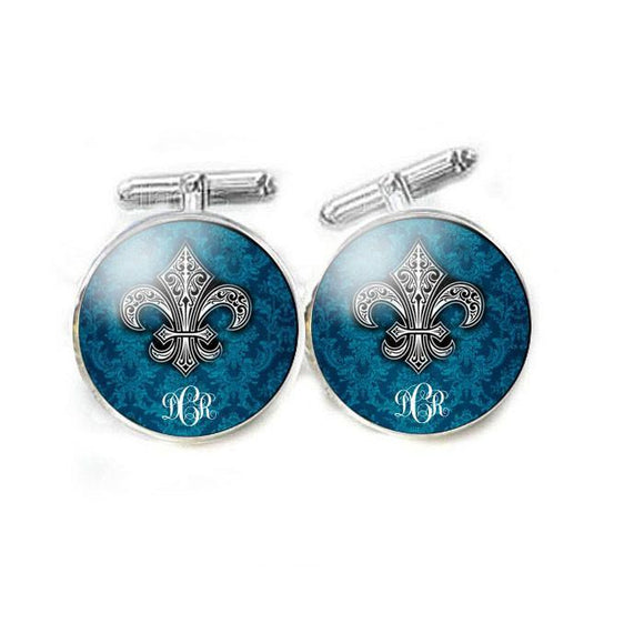 Blue Fleur De Lis Cufflinks - Jewelrylized.com