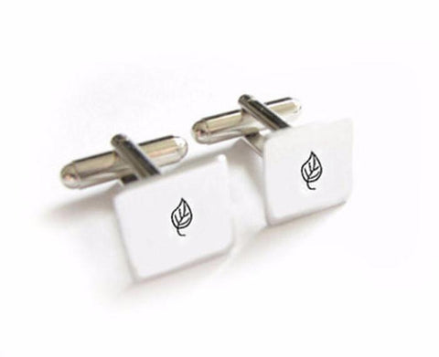 Square Leaf Cufflinks, Hand Stamped Cufflinks - Jewelrylized.com