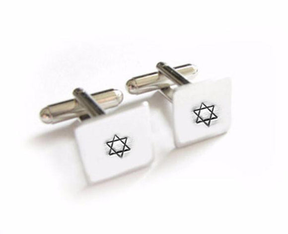 Star of David Hand Stamped Square Cufflinks - Jewelrylized.com