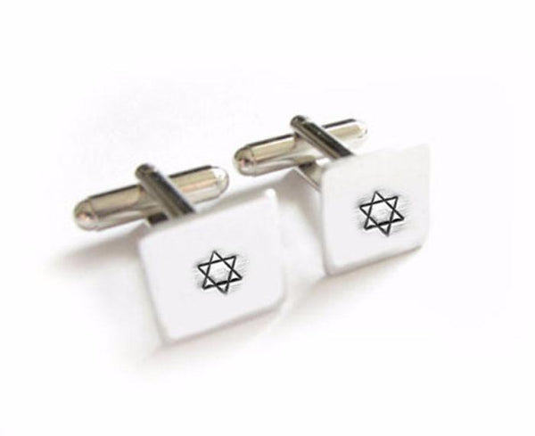 Star of David Hand Stamped Square Cufflinks - Jewelrylized  - 1
