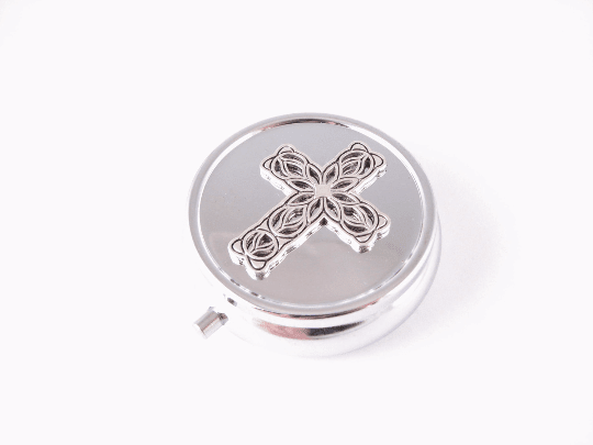 Filigree Cross Silver Mirror Makeup Compact - Jewelrylized.com
