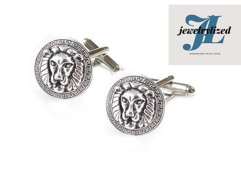 Greek key Lion Cufflinks, Jewelrylized