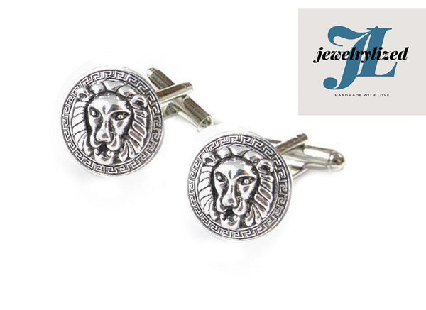 Greek key Lion Cufflinks - Jewelrylized