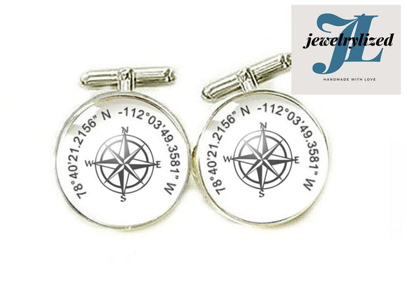 Compass Latitude Longitude Photo Cufflinks - Jewelrylized.com