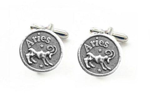 Aries Cufflinks, Antiqued silver Zodiac Astrology Cufflinks, Other Signs also available - Jewelrylized  - 1
