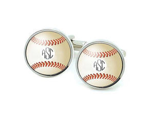 Baseball Cufflinks with Monogram - Jewelrylized.com